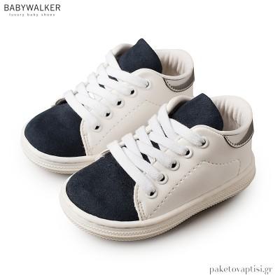 Δετά Λευκά με Μπλε Sneakers Babywalker BS3037