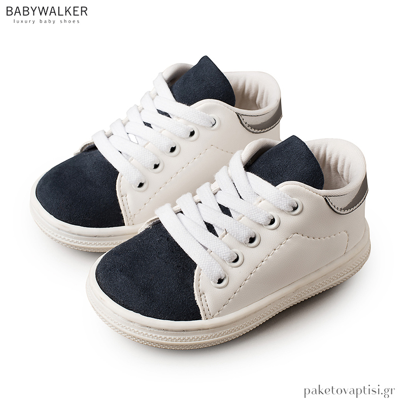 1e93e357f75 Δετά Λευκά με Μπλε Sneakers Babywalker BS3037