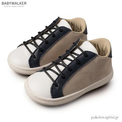 Δετά Μπεζ με Λευκό και Μπλε Sneakers Babywalker BS3039