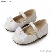 Γοβάκια Λευκά με Ταφταδένιο Φιόγκο και Μονή Μπαρέτα Babywalker BS3500