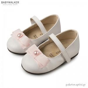 Γοβάκια Λευκά με Ροζ Ταφταδένιο Φιόγκο και Μονή Μπαρέτα Babywalker BS3500
