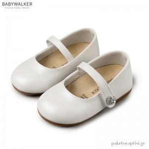 Γοβάκια Λευκά με Κουμπάκι Strass και Μονή Μπαρέτα Babywalker BS3502