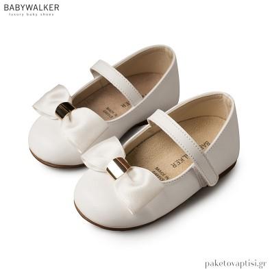 Γοβάκια Λευκά με Σατέν Φιόγκο και Χρυσή Λεπτομέρεια Babywalker BS3537