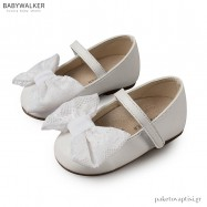 Γοβάκια Λευκά με Δαντελένιο Φιόγκο Babywalker BS3541