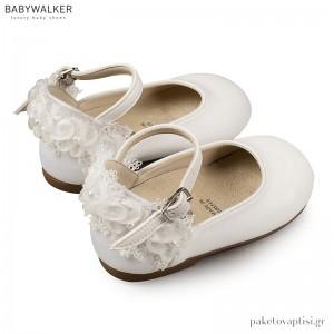 Γαλλικά Γοβάκια Λευκά με Chiffon Λουλούδια Babywalker BS3543