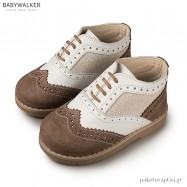 Δετά Λευκά με Πραλίνα Brogues Babywalker EXC5039