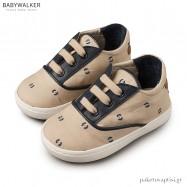 Δετά Μπεζ με Μπλε Sneakers από Ύφασμα και Δέρμα Babywalker EXC5065