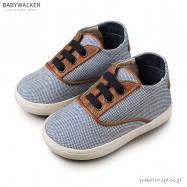 Δετά Μπλε με Ταμπά Sneakers από Ύφασμα και Δέρμα Babywalker EXC5065