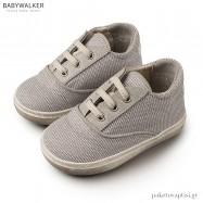 Δετά Γκρι Sneakers από Ύφασμα και Δέρμα Babywalker EXC5065