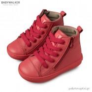 Δερμάτινα Κόκκινα Δετά Μποτάκια με Φερμουάρ Babywalker EXC5116