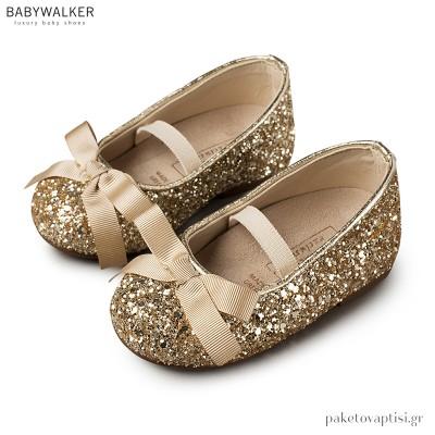 Γοβάκια Χρυσά με Glitter και Gros Grain Φιογκάκι Babywalker EXC5581