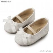 Γοβάκια Λευκά με Glitter και Gros Grain Φιογκάκι Babywalker EXC5581