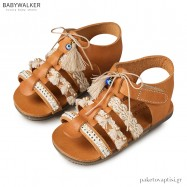 Δερμάτινα Πέδιλα με Boho Τρέσες Babywalker EXC5596