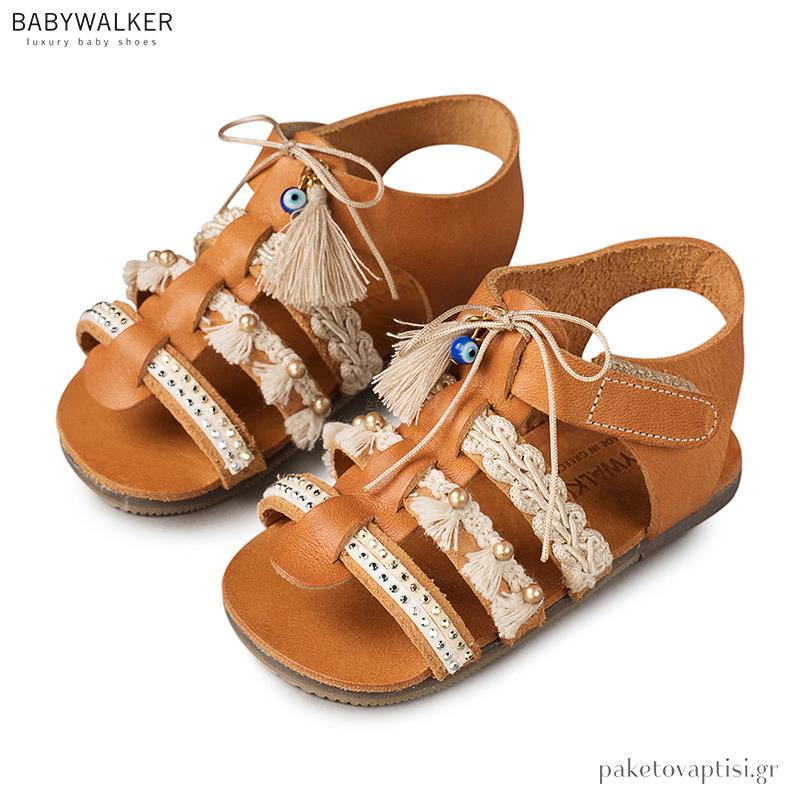 09449d8d466 Δερμάτινα Πέδιλα με Boho Τρέσες Babywalker EXC5596
