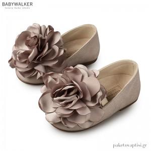 Δερμάτινη Γκρι Μπαλαρίνα με Satin Λουλούδι Babywalker EXC5684