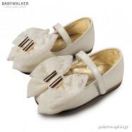 Γοβάκια Εκρού με Φιόγκο από Chiffon και Δαντέλα Babywalker EXC5692
