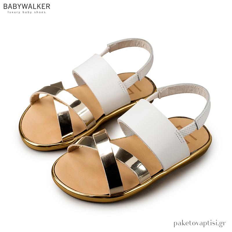 ae4236a1cf3 Δερμάτινα Λευκά με Χρυσά Αρχαιοελληνικά Πέδιλα Babywalker GR0033