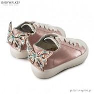 Δερμάτινα Δετά Sneakers με Πεταλούδα από Swarovski Babywalker LU6055