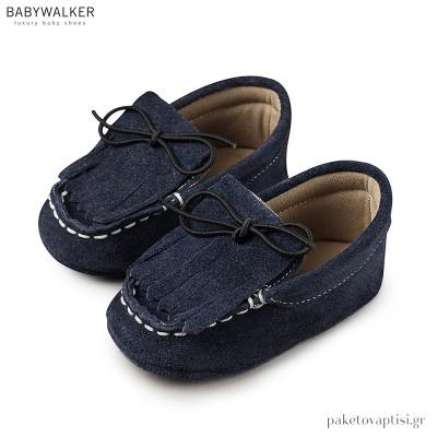 Δετά Δερμάτινα Μπλε Μοκασίνια Αγκαλιάς με Κρόσια Babywalker MI1047