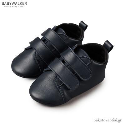 Δερμάτινα Μπλε Sneakers Αγκαλιάς με Διπλή Μπαρέτα Babywalker MI1050