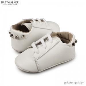 Δερμάτινα Λευκά Δετά Sneakers Αγκαλιάς με Καρφάκια Babywalker MI1059