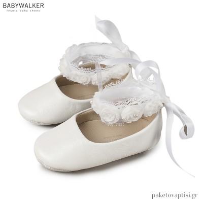 Δερμάτινες Λευκές Μπαλαρίνες Αγκαλιάς με Chiffon Λουλούδια Babywalker MI1506