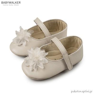 Δερμάτινες Μπαλαρίνες Αγκαλιάς με Μονή Μπαρέτα και Τούλι Babywalker MI1528