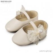 Δερμάτινες Εκρού Μπαλαρίνες Αγκαλιάς Babywalker MI1555