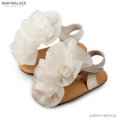 Δερμάτινα Εκρού Πέδιλα Αγκαλιάς με Chiffon Λουλούδια Babywalker MI1559