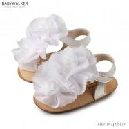 Δερμάτινα Λευκά Πέδιλα Αγκαλιάς με Chiffon Λουλούδια Babywalker MI1559
