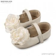Δερμάτινες Μπαλαρίνες Αγκαλιάς με Σατέν Λουλούδι Babywalker MI1565