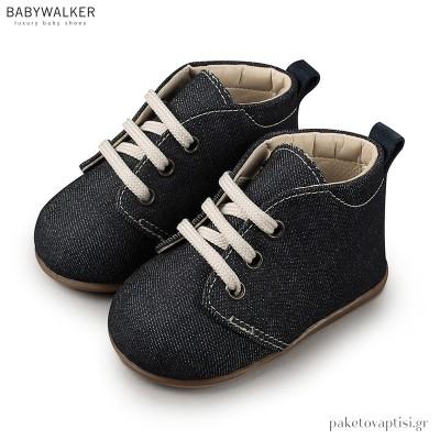 Υφασμάτινα Μπλε Ημιμποτάκια με Δέσιμο Babywalker PRI2027