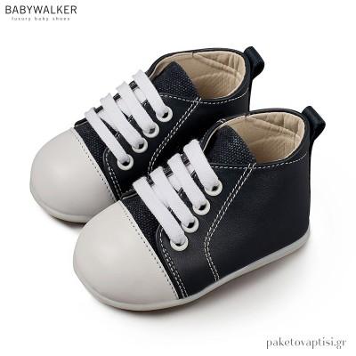 Δερμάτινα Δετά Μπλε Sneakers Babywalker PRI2028