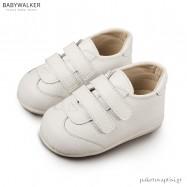 Δερμάτινα Λευκά Sneakers με Διπλό Velcro Babywalker PRI2063