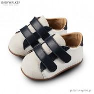 Δερμάτινα Λευκά-Μπλε Sneakers με Διπλό Velcro Babywalker PRI2064