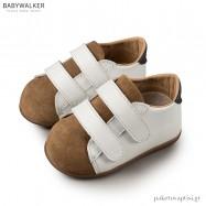 Δερμάτινα Λευκά-Ταμπά Sneakers με Διπλό Velcro Babywalker PRI2064