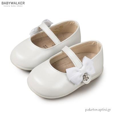 Δερμάτινα Λευκά Γοβάκια Gros Grain Φιογκος με Μονή Μπαρέτα Babywalker PRI2513