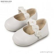 Λευκά Γοβάκια με Μονή Μπαρέτα και Jersey Λουλούδια Babywalker PRI2514