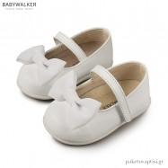 Δερμάτινα Λευκά Γοβάκια με Μονή Μπαρέτα και Σατέν Φιόγκο Babywalker PRI2525