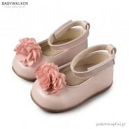 Δερμάτινα Γοβάκια με Υφασμάτινο Λουλούδι και Μπαρέτα Babywalker PRI2538