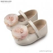 Μεταλιζέ Γοβάκια με Μπαρέτα και Τούλινο Λουλούδι Babywalker PRI2540