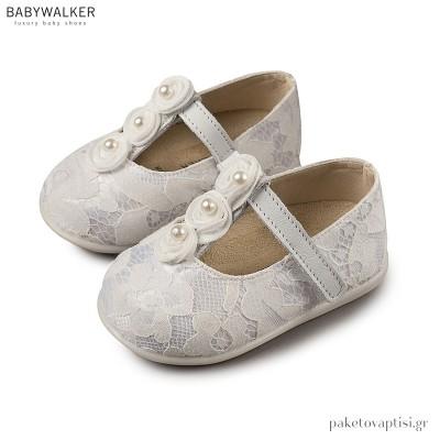 Δαντελένια Γοβάκια με Τρέσα από Πέρλες Babywalker PRI2550