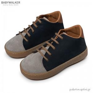 Δερμάτινα Γκρι με Μπλε Sneakers Babywalker BW4172