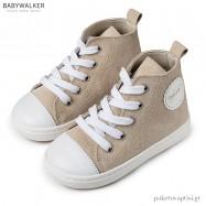 Δερμάτινα Δετά Μπεζ Μποτάκια Sneakers Babywalker BW4192