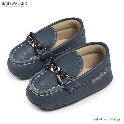 Δερμάτινα Μπλε Loafers Αγκαλιάς Babywalker MI1073