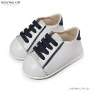 Δερμάτινα Λευκά-Μπλε Sneakers Babywalker PRI2073