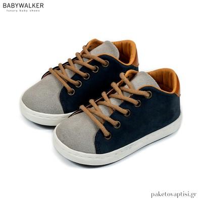 Δετά Sneakers Μπλε με Γκρι Babywalker BW4204