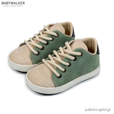 Δετά Sneakers Μέντα με Μπεζ Babywalker BW4204