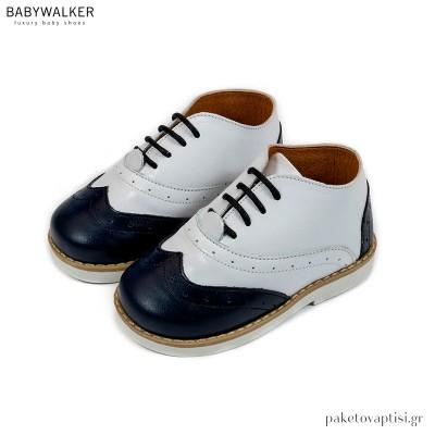 Λευκό με Μπλε Δετά Brogues Babywalker BW4206