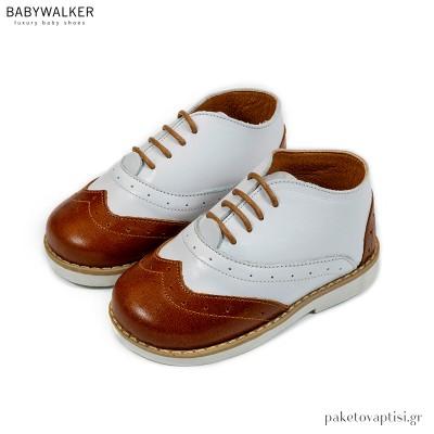 Λευκό με Ταμπά Δετά Brogues Babywalker BW4206